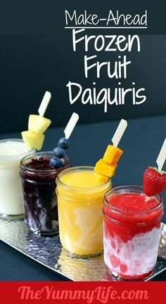 Make-Ahead Frozen Fruit Daiquiris. Blended, frozen in mason jars, ready to serve. Make strawberry, blueberry, pineapple, mango, and more. #drinks #recipe