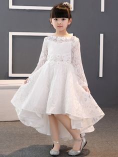 Lace Scoop High-Low Flower Girl Dress with Sleeves - Cute Dresses Frocks For Girls, Gowns For Girls, Girls Dresses, Long Frocks For Kids, Bride Dresses, Flower Girl Dresses Boho, Cute Dresses, Dresses With Sleeves, Formal Dresses