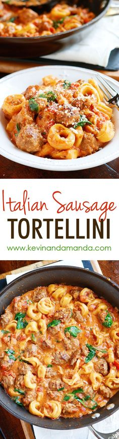 Italian Dishes: This Italian Sausage Tortellini is a MUST make! The tomato sauce is so rich and creamy and the Italian sausage is fabulous! Plus it all cooks in one pot so you only have one dish to wash! Pork Recipes, New Recipes, Cooking Recipes, Favorite Recipes, Recipies, Easy Italian Recipes, Budget Cooking, Recipe Pasta, Ramen Recipes