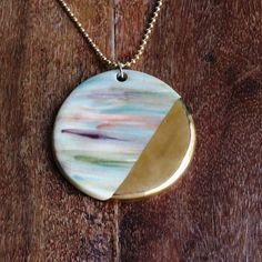 gift for her, Porcelain gold necklace, porcelain jewelry, Pastel colors, gold decoration, gift under 100, Special jewelry, special gift, by NaniByEttyVardi on Etsy