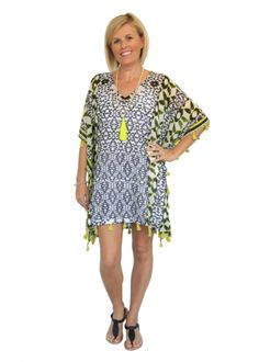 CLOTHING :: Monochrome & Citrus Tassel Kaftan -