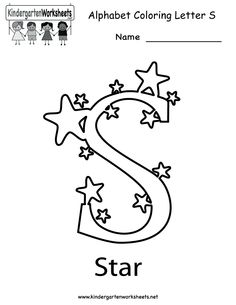 kindergarten letter s coloring worksheet printable