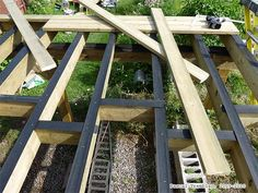 Raised Deck - Frame Joists Hangers and Waterproof Strips Deck Framing, Raised Deck, How To Build Steps, Wooden Patios, Wrap Around Deck, Victorian Design, Deck Railings, Decks And Porches, Guide