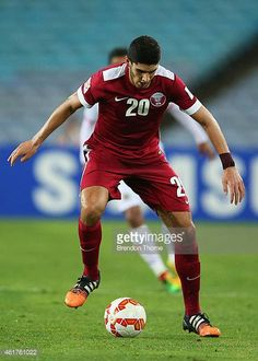 Karim Boudiaf of Qatar controls the ball during the 2015 Asian Cup match between Qatar and Bahrain at ANZ Stadium on January 19 2015 in Sydney...