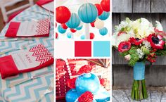 Color Palette; Aqua and Cherry Red Loving this look!