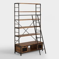 Bookish appeal meets industrial edge in our distressed wood and metal bookcase. With four broad shelves, a pair of storage drawers and a handsome library ladder, it's a stylish solution for storing - and reaching - your books, media or collectables.