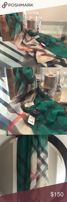 Burberry scarf/wrap Stunning 100% silk hunter green to original beige Burberry print. Just in time for the holidays!! Tags attached. Made in Scotland. Ships next day. Happy holidays!!🎁🛍 Burberry Accessories Scarves & Wraps