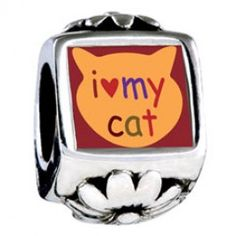 I Heart My Cat Photo Flower Charms  Fit pandora,trollbeads,chamilia,biagi,soufeel and any customized bracelet/necklaces. #Jewelry #Fashion #Silver# handcraft #DIY #Accessory