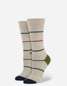Stance Tumbler Winter Everyday socks. There's something elegant about simplicity. For the proof, look no further than Stance's Tumbler. This Everyday Winter style is true classic thanks to its cozy wool and combed cotton fibers, blended together with a trim striped design that suits every style. To ensure they'll live up to their appearance, the Tumbler features some of our best textile technology. Deep heel pockets and band of springy elastic arch support swath feet in comfort, while a…