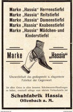 Werbung - Original-Werbung/ Anzeige 1902 - STIEFEL / SCHUHE HASSIA / OFFENBACH - ca. 90 x 135 mm