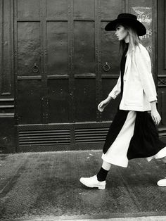 Priory NYC Coat, Tunic and Pant; Acne Shoes and Alessandra Rivera Hat