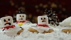 Melted Snowman Cookies Allrecipes.com  Gonna make this with the kids this weekend! Super cute!