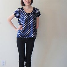 J Crew inspired polka-dot top with exposed back zipper