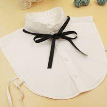 coton new solid fashion blouse detachable shirt collars accessories fake collar white cotton lace fashion false collar women(China)