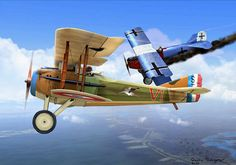 SPAD XIII downs a Fokker D VII 1918