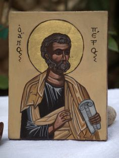 St. Peter- Apostle Simon Peter, handmade byzantine icon, russian greek holy icon of the saint- eastern orthodox religious painting
