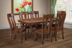 This 7 piece dinette includes the table, 4 side chairs and 2 arm chairs.