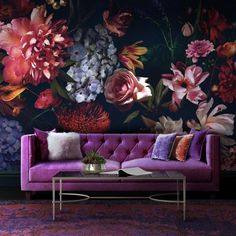 Bright Bouquet/design - Back To The Wall Vivid Colors, Colours, Wallpaper Please, Hit The Floors, Beautiful Wall, Wall Design, Room Inspiration, Wall Murals, Bouquet