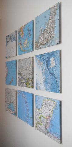 Old map transformed in wall decor. val.idées: Decoration