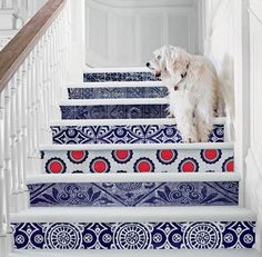 Navy and White Print Patterned Stairs!