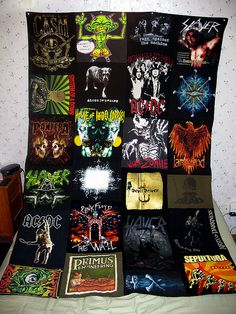 T-Shirt Blanket. i love that they used band shirts. i should do this!