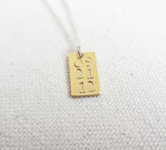 custom date  sterling silver and brass necklace  custom date