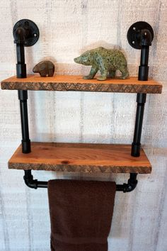 French Country Reclaimed Oak Shelves With Towel Bar. $129.00, via Etsy.