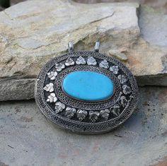 Afghan Turquoise pendant - look4treasures on Etsy