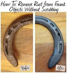 remove rust from metal tools and found objects without scrubbing witha soak in this natural solution- good to know for horseshoe projects Horseshoe Projects, Horseshoe Crafts, Horseshoe Art, Horseshoe Ideas, Horseshoe Wreath, Beaded Horseshoe, House Cleaning Tips, Deep Cleaning, Spring Cleaning