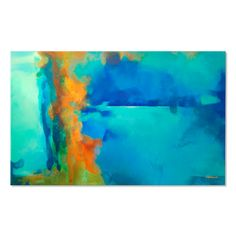 Abstract painting Turquoise Blue Green Orange moderne от Artoosh