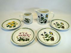 111) Portmeirion Botanic Garden - large jug, tankard and four plates (6) Est. £10-£20