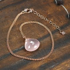 Rose Quartz briolette pendant necklace 14k Rose by JewelleryHaven
