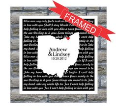 "Personalized Song Lyrics State Love Map. A lyrical reminder of your song and your special place and date. It doesn't get any better that this! Your print comes beautifully framed in a 13""h x 13""w x 1."