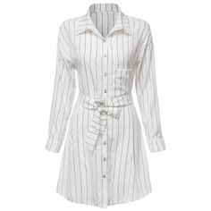 Casual Turn Down Collar Long Sleeve Striped Lace-Up Button Design Women's Shirt Dress