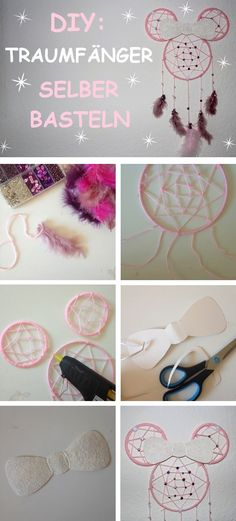 Kreative Idee für einen selbst gemachten Traumfänger in Disney Mickey Mouse Optik. Anleitung, Tutorial. Basteln & Deko Ideen Disney Diy, Dream Catcher, Mickey Mouse, Cinderella, Crochet Necklace, Baby, Kids Diy, Diy Presents, Disney House
