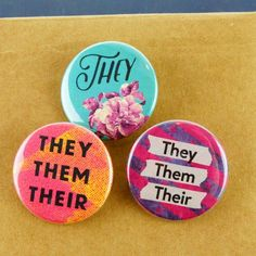 Pronoun Buttons 3 Pack