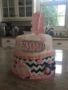 Nautical girls first birthday cake