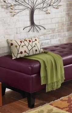 Lauren Leather Storage Ottoman.