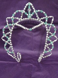 SILVER & MINT GREEN BEADED BALLET TUTU TIARA DANCE HEADPIECE - ebay