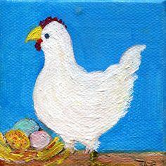 White chicken mini acrylic painting canvas art, easel, Chicken art, miniature hen painting, little chicken decor, kitchen art