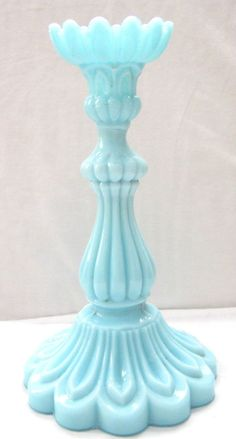 Antique PORTIEUX VALLERYSTHAL PV Blue Opaline Milk Glass Single Candlestick *Wow