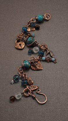 Jasper and Copper Charm Wire Wrapped Bracelet by designsbyduffy, Jewelry Copper Jewelry, Wire Jewelry, Jewelry Crafts, Beaded Jewelry, Jewelery, Jewelry Bracelets, Copper Wire, Copper Bracelet, Wire Earrings