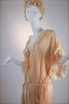 Early 1920's Peach Silk & Valenciennes Lace Trimmed Peignoir with Boudoir Cap
