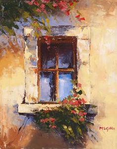 Oil Painting of window with flowers. I found online and Im using as a reference for my own art canvas