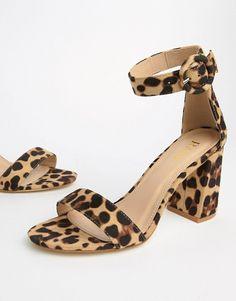 f52eefd717cc RAID Genna leopard print block heeled sandals | ASOS Strappy Sandals,  Heeled Sandals, Women's