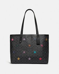 Coach Central Tote In Signature Canvas With Star Applique And Snakeskin Detail Pebbled Leather, Calf Leather, Coach Leather Cleaner, Designer Totes, Luxury Handbags, Womens Tote Bags, Tote Handbags, Snake Skin, Calves