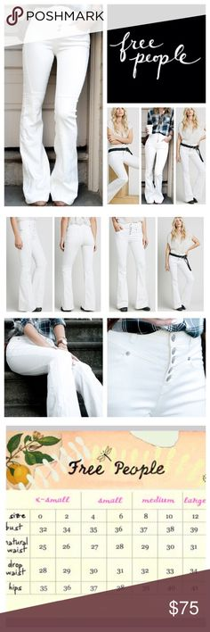 "Free People Night Out High Rise Flare Jeans. NWOT. Free People White Night Out High Rise Flared Jeans, 53% cotton, 23% rayon, 22% polyester, 2% spandex, 2% spandex, machine washable, 26"" waist, 9.5"" front rise, 13.5"" back rise, 33"" inseam, 22"" leg opening all around, made from Free People pieced Gummy Denim, four pockets, stretchy, black line drawn through FP label to prevent return to store, measurements are approx. New without tag, never worn.  NO TRADES Free People Jeans Flare & Wide Leg"
