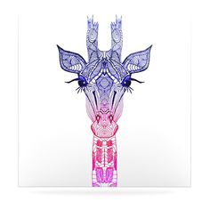 Rainbow Giraffe Floating Art Panel Tribal lines giraffe head tattoo??