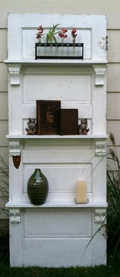 Great bookcase/curio idea - using an old door! Lots of beautiful and creative ideas on this site! Dishfunctional Designs: New Takes On Old Doors: Salvaged Doors Repurposed Old Wood Doors, Salvaged Doors, Repurposed Doors, Recycled Door, Recycled Crafts, Oak Doors, Entry Doors, Front Doors, Repurposed Furniture