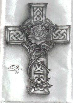 cross with vines tattoo | celtic cross, with rose in center and vine of thorns wraping, drawn 2 ...